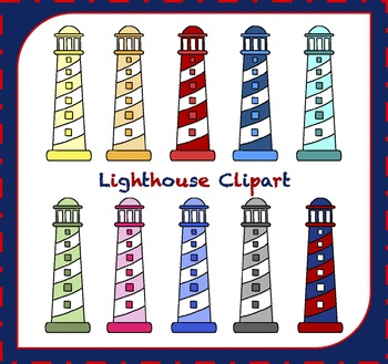 Lighthouse Clipart / Ocean Clipart / Boat Clipart
