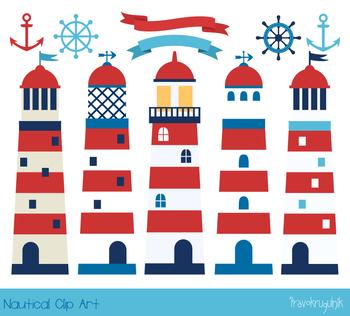 Lighthouse clipart, Nautical boy clip art, Summer sea set, anchor, helm, banner