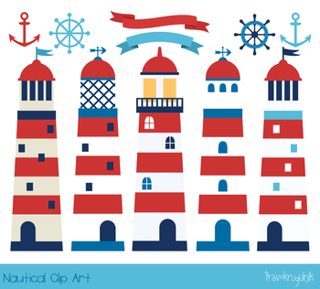 Lighthouse clipart, Nautical boy clip art, Summer sea set,