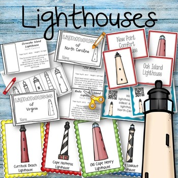 Lighthouses Book to Create, Matching Cards, Posters, QR Co