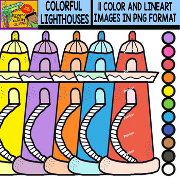 Lighthouses - Colorful Cliparts Set - 11 Items