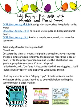 Lighting Up the Halls with Singular and Plural Nouns