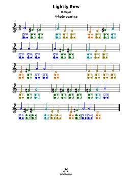 Lightly Row |D| tabs 4 recorder ocarina guitar ukulele harmonica bass percussion