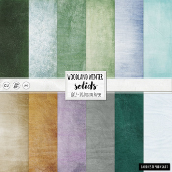 Lightly Textured Solid Winter Wonderland Digital Paper, Nature, Forest Green