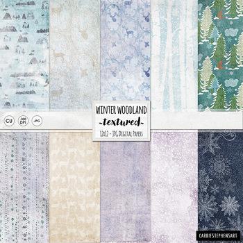 Lightly Textured Winter Wonderland Digital Paper, Mountains, Birch Tree Forest