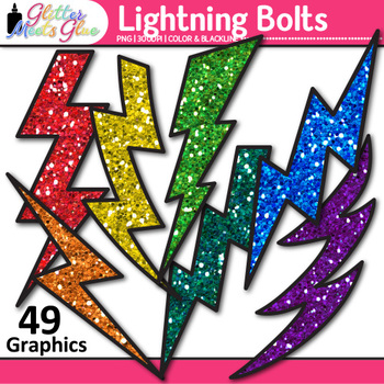 Lightning Bolt Clip Art {Teach Weathering and Erosion in Science, Superhero Use}