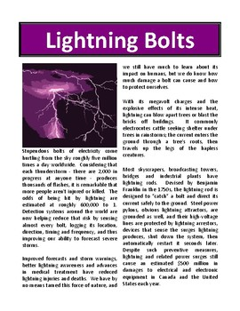 Lightning Bolts - Reading Comprehension and Substitute Plan