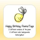 Lightning Bug Themed Birthday Poem Tags