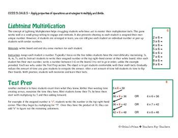 Lightning Multiplication Test Prep for Common Core State Standards
