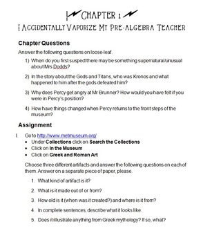 Lightning Thief Chapter Activities and Assignments