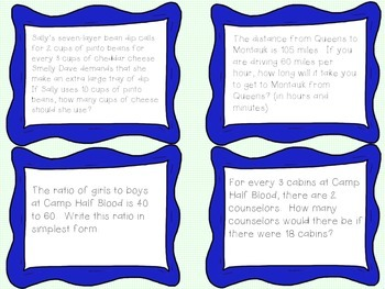 Lightning Thief Math Task Cards {RATIOS}