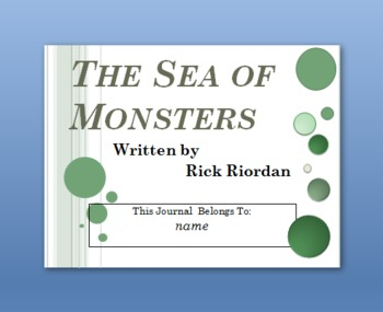Lightning Thief, Sea of Monsters, Titan's Curse Interactive PPt Student Journals