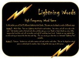 """""""Lightning Words"""" High Frequency Word Game"""