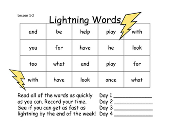 Lightning Words Unit 1