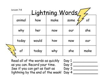 Lightning Words Unit 2