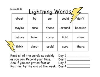 Lightning Words Unit 4