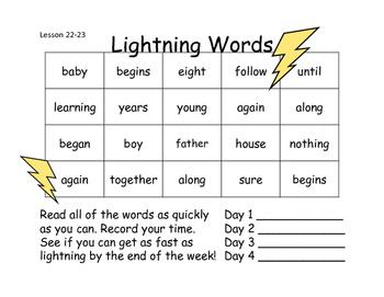 Lightning Words Unit 5
