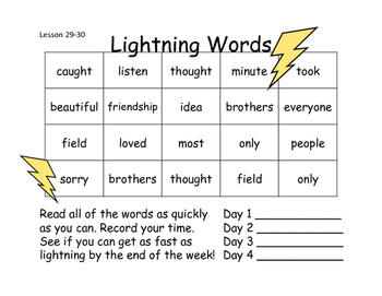 Lightning Words Unit 6