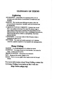 Lightning/hang-gliding glossary Page from novel Ms. Bolt