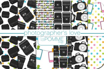 Lights, Camera, Action! Photographer's Patterned Digital Paper Pack