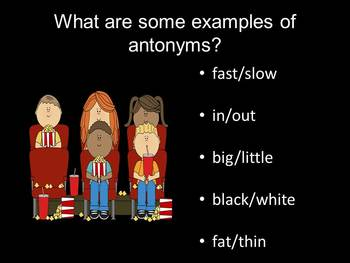 Lights, Camera, Synonyms, and Antonyms - PowerPoint Game