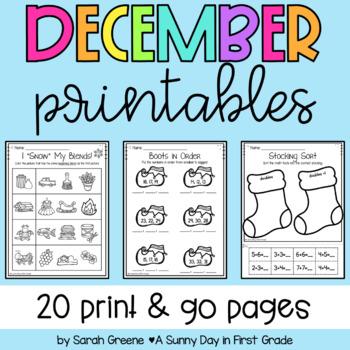 Lights, Camera, Teach! December {20 ready-to-print L.A. & Math activities}