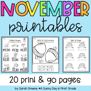 Lights, Camera, Teach! November {20 ready-to-print L.A. & Math activities}