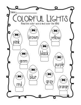 Christmas Lights Color Words