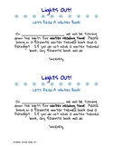 Lights Out Winter Reading Notice - Freebie