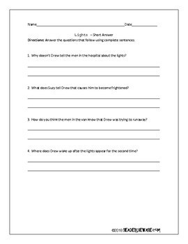 Lights - Short Story and Comprehension Activities