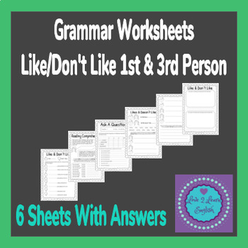 Grammar Worksheets  Like 1st & 3rd Person