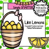 Like Lemons:  NO PREP Equivalent Fractions Spin Game