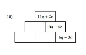 Like Term Algebra Pyramids - Worksheet Homework Sheet with Answers