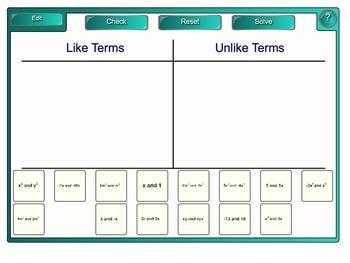 Like Terms Activities on Smartboard