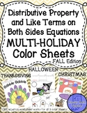 Like Terms & Distributive Prop Equations Color Halloween Thanksgiving Christmas