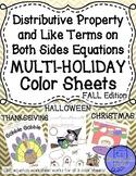 Like Terms & Distributive Prop Equations Color Halloween T