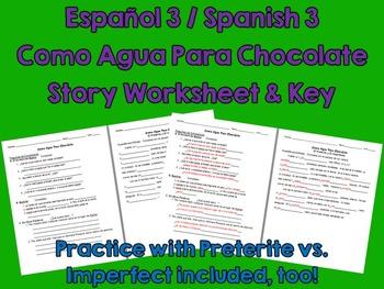 Like Water for Chocolate (Como Agua Para Choc) Spanish Comprehension Worksheet