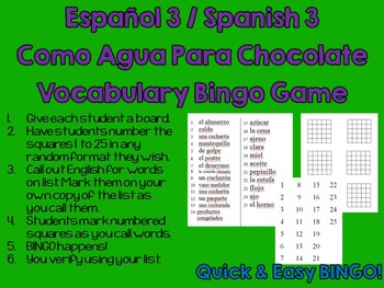 Like Water for Chocolate (Como Agua Para Choc) Spanish Vocabulary Bingo NO PREP!
