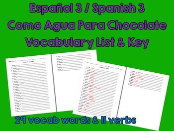 Like Water for Chocolate (Como Agua Para Choc) Spanish Vocabulary List & Key