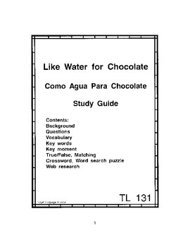 Like Water for Chocolate-Spanish Study Guide