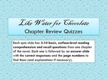 Like Water for Chocolate chapter mini-quizzes