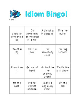 Like a fish out of water...Idiom Bingo!