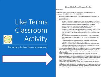 Like Terms Classroom Activity - Fun and Excellent!