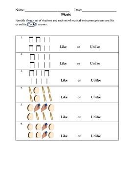 Like or Unlike Assessment (Upper Elementary)