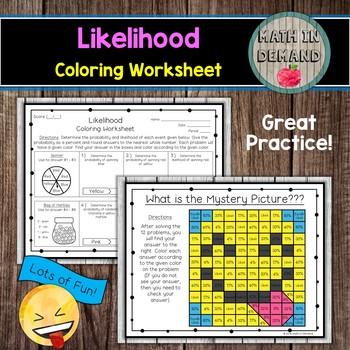 Likelihood Coloring Worksheet (Probability)