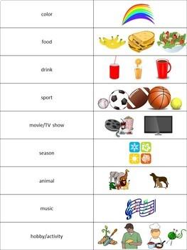 Likes and Dislikes Chart Activity (ESL)