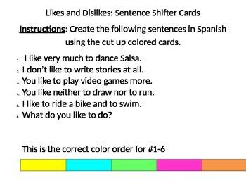 Likes and Dislikes Sentence Shifter Card Activity
