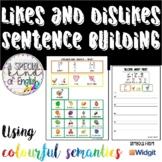Likes and dislikes writing worksheets using colourful semantics