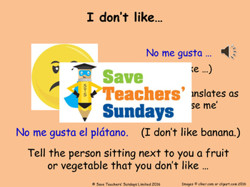 Likes & dislikes in Spanish Lesson plan, PowerPoint (with audio) and More ...