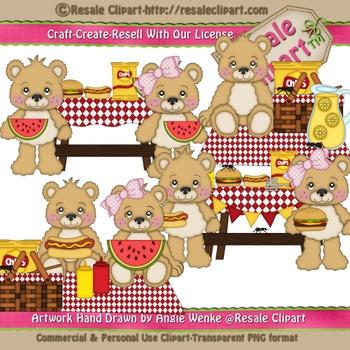 Lil Bear BBQ Picnic Clipart